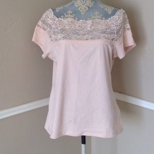 Peach baby pink Lace Short Sleeve